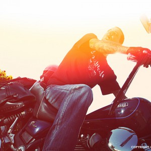 Tattooed Biker Man – Sunset Rider Motorcycle