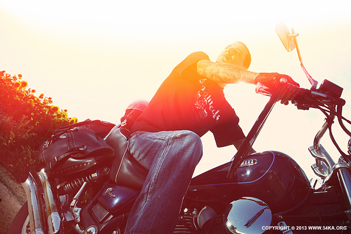 Tattooed Biker Man Sunset Rider Motorcycle by 54ka :: Tattooed Biker Man   Sunset Rider Motorcycle :: photography portraits other index top index