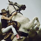 Beautiful Girl Riding White Horse
