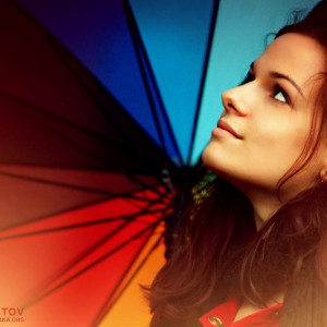 Rainbow umbrella girl portrait