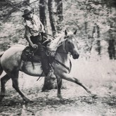 Cowboy Woman Riding in The Forest