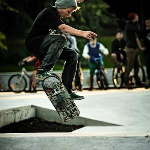 Skate boarder jumping – board flipping