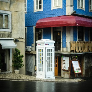 Street photography – white telephone box