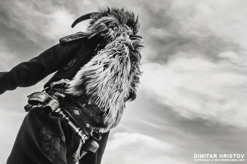 Kukeri costume   Traditional masquerade festival photography other black and white  Photo