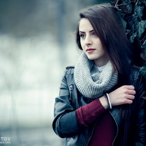 Sensual winter outdoor portrait