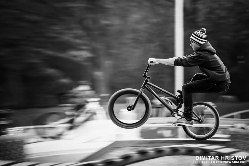 Young man riding BMX bicycle on a ramp photography other extreme  Photo