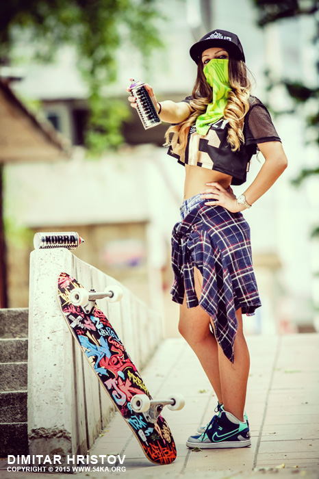 Graffiti girl   outdoor summer fashion portrait photography portraits featured fashion  Photo