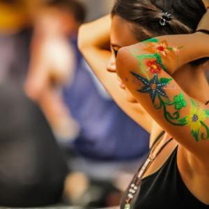 Body art girl with flowers