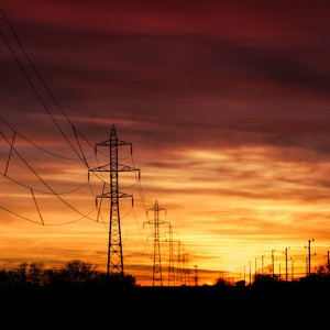 Electrical towers sunset