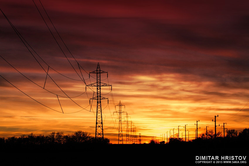 Electrical towers sunset photography landscapes featured  Photo