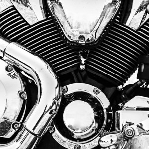 Chromed V-Twin cylinder engine head on a Motorcycle