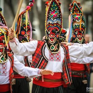Traditional Kukeri players – customary traditional Bulgarian games