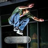 Skate boarder jump – board flipping