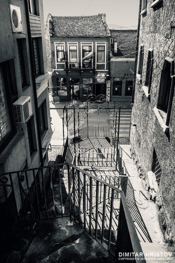 Stairs on the small street photography urban black and white  Photo