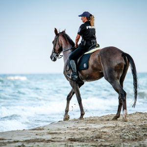 Policewoman riding horse on the beach