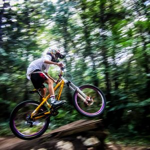 Mountainbike downhill in forrest