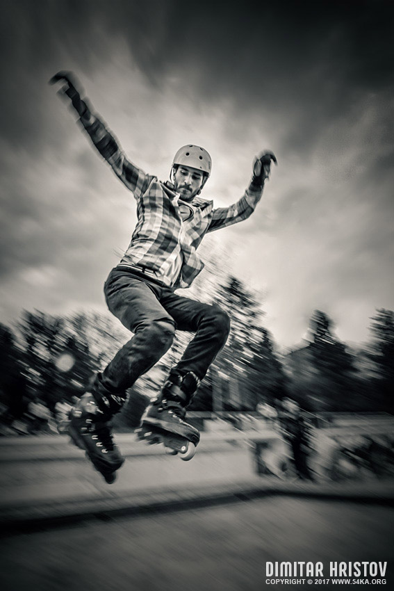 Rollerblade jump photography extreme black and white  Photo