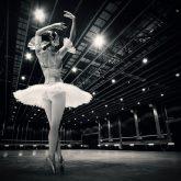 A beautiful ballerina dancing in studio