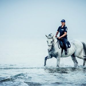 Police woman riding white horse in the sea