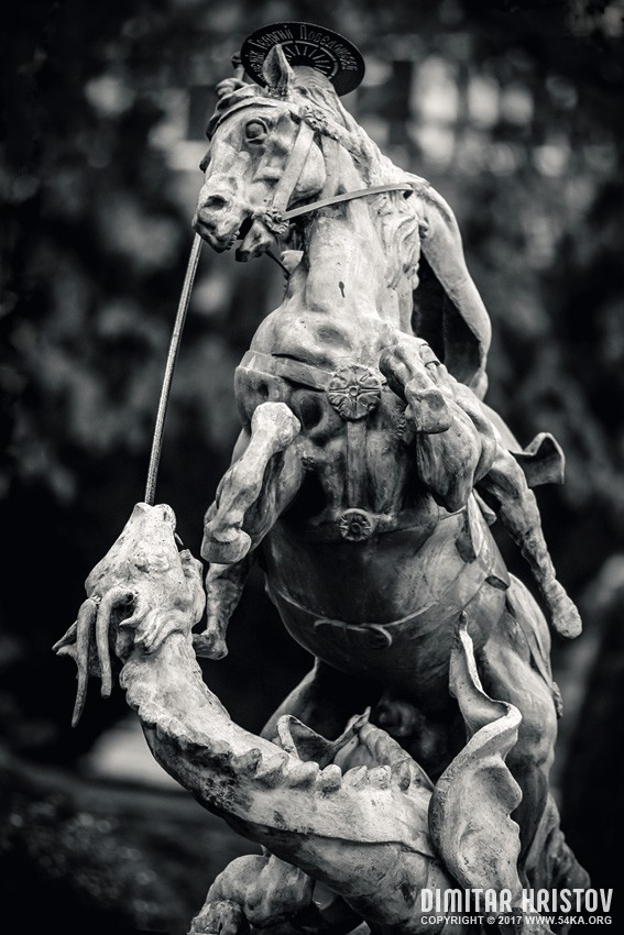 Sculpture St. George the Victorious on horse photography other black and white  Photo