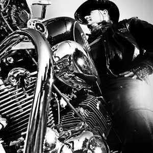 Motorcycle Lifestyles – Black & White Biker Man Portrait