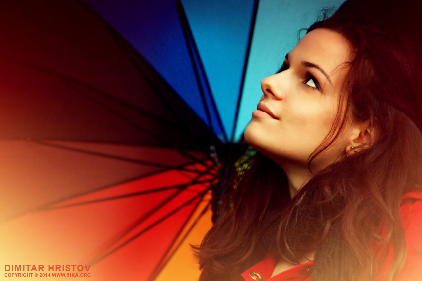 Rainbow umbrella girl portrait photography portraits  Photo