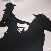Cowgirl and horse silhouette