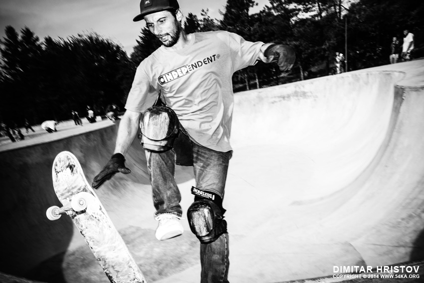 Skateboard trick in motion photography other extreme black and white  Photo