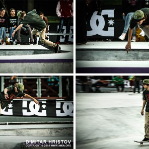 Slide trick skateboarder