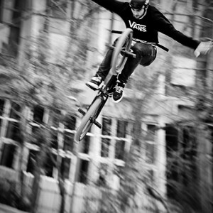 BMX biker flying jump