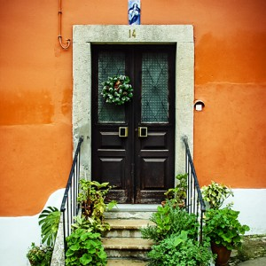 Front Door of a Red House