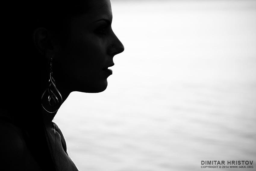 Silhouette Portrait photography portraits black and white  Photo