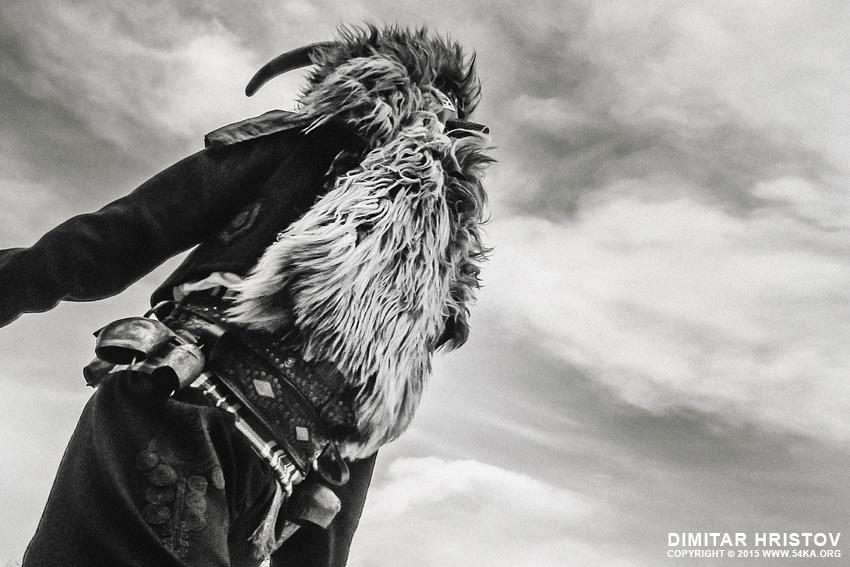 Kukeri costume   Traditional masquerade festival photography other black and white  Photo