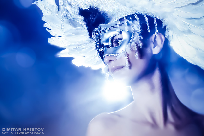 Angel Wings   Venetian mask with feathers portrait photography venetian eye mask fashion daily dose  Photo