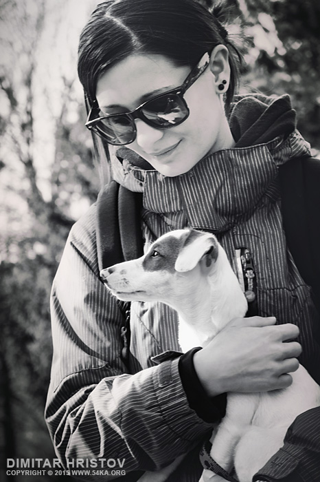 Girl With Puppy Dog   Portrait photography portraits daily dose black and white  Photo