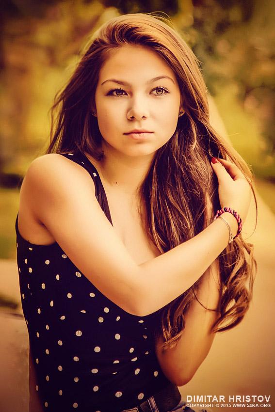 Beautiful sunny portrait of a girl photography portraits  Photo