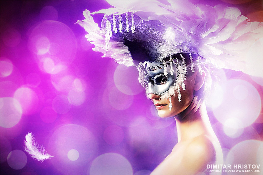 Woman with white feather mask photography venetian eye mask photomanipulation fashion daily dose  Photo