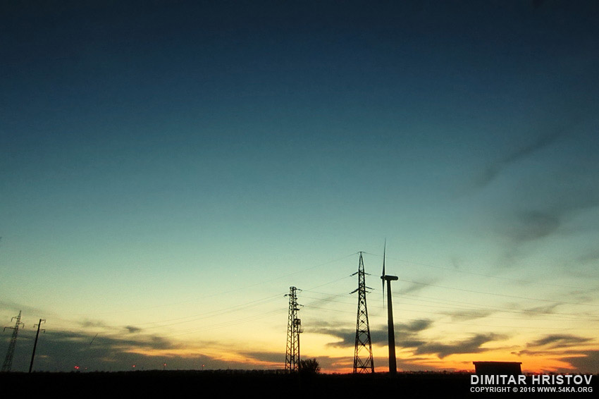 Wind turbine sunset photography landscapes  Photo