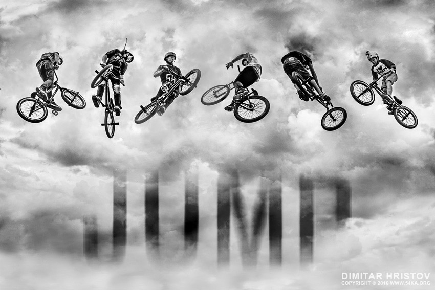 High BMX jump in a stormy sky photography extreme black and white  Photo