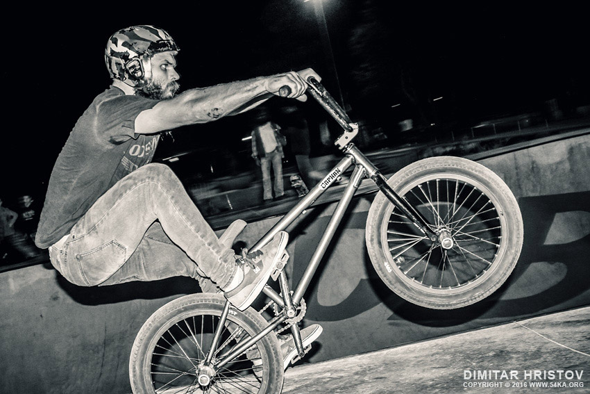 BMX Balance trick   one wheel photography extreme black and white  Photo