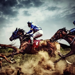 Running horses – Competition – Jockeys in horse race