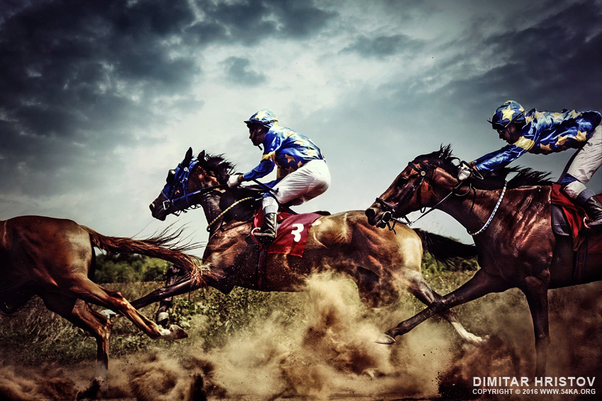 Running Horses  U2013 Competition  U2013 Jockeys In Horse Race