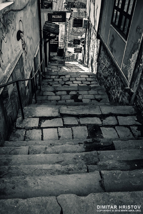Old sity stone stairs photography urban black and white  Photo
