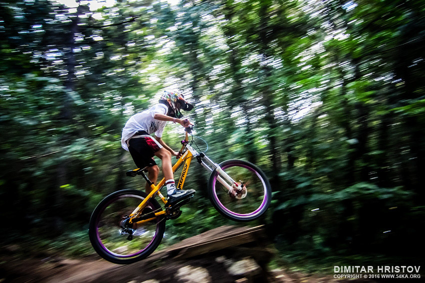 Mountainbike downhill in forrest photography extreme  Photo