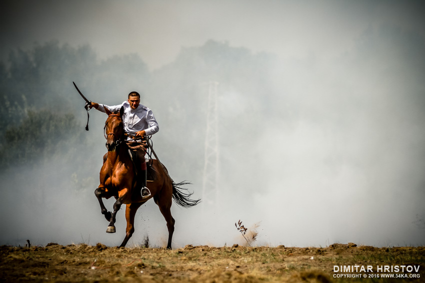 War horse and warrior galloping in the fire smoke photography top rated featured equine photography  Photo