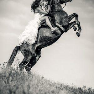 Woman in dress riding chestnut black rearing stallion