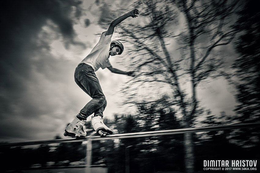 Rollerblades in action photography sport galleries extreme black and white  Photo