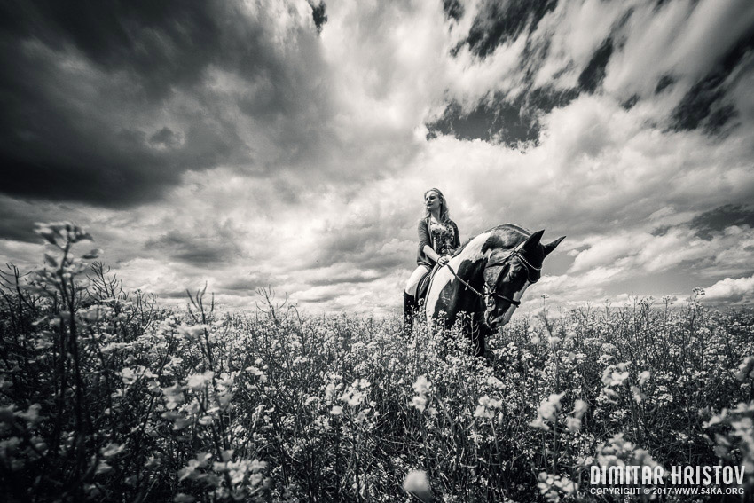 Girl and horse on the stormy sky photography portraits top rated featured equine photography black and white animals  Photo