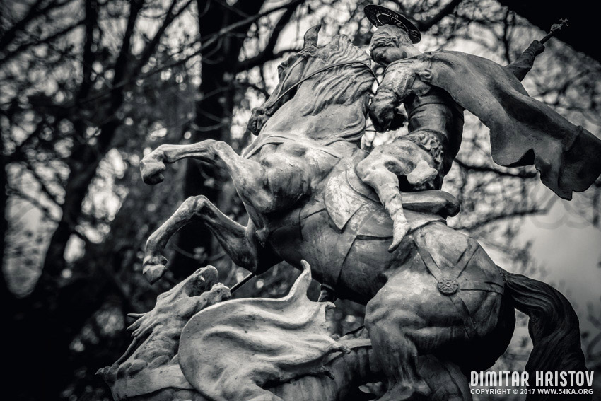 Statue of St. George killing the Dragon photography other galleries black and white  Photo