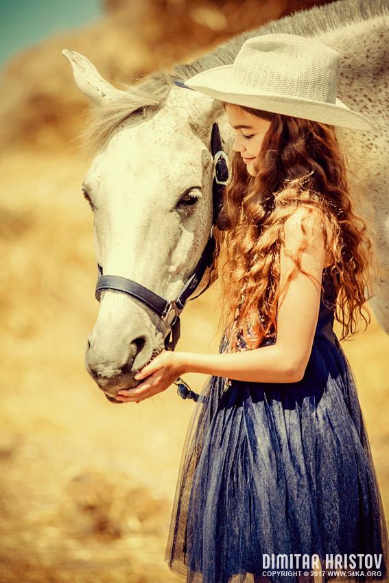 Portrait Of A Young Girl With White Horse photography portraits featured equine photography  Photo